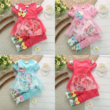 New Baby Girls Kids 2 Piece Floral Short Sleeve T-shirt Top Clothes Pants Outfit(China (Mainland))