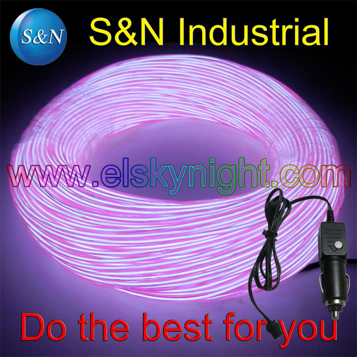 2.3M Flexible Neon Light EL Wire Car Rope Tube Strip+12V Car Charger Inverter ,Purple EL Wire +Free Shipping(China (Mainland))