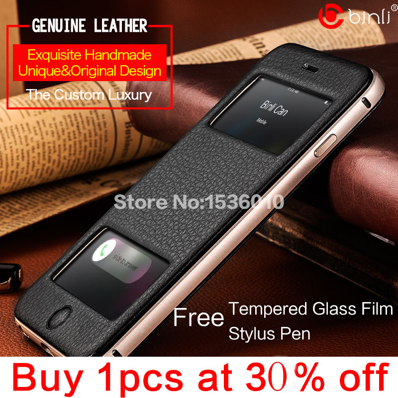 brand luxury window case iphone 6 plus 5.5 genuine leather folio flip case+aluminum frame phone cover - BinLi Official Flagship Store store