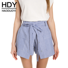 HDY Haoduoyi Stripe Women Streetwear Loose Casual Shorts Sexy Slim High Waist Button Culotte Lacing Bottom Cotton A-line Shorts(China (Mainland))