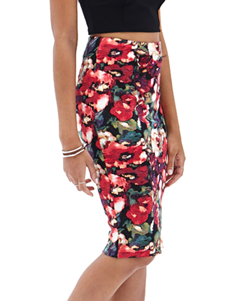 Fashion sexy flower print pencil skirt woman saia feminina 2014 new women midi skirt haoduoyi(China (Mainland))