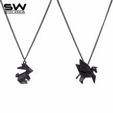 Buy Handmade Origami Jewelry Animal Pendant Necklace Rabbit Dog Bird Cat Horse Dinosaur Boat Cute Necklace Long Chain Pendant JN029 for $2.39 in AliExpress store