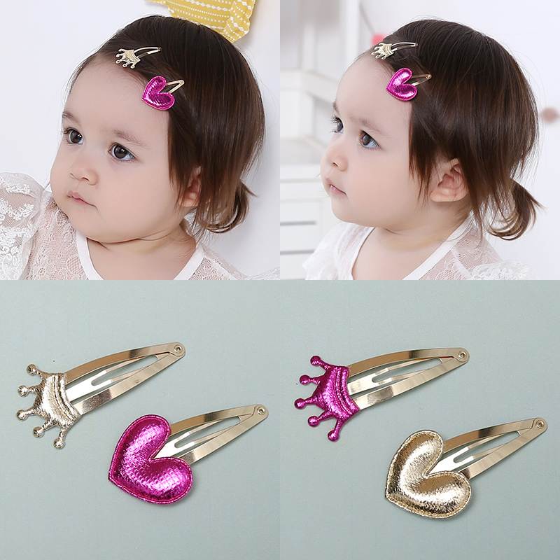 2 PCS 2017 Bright PU Crown Heart-shaped Combination Baby BB Clips Girls Hairpins Hair Clips Kids Children Accessories(China (Mainland))