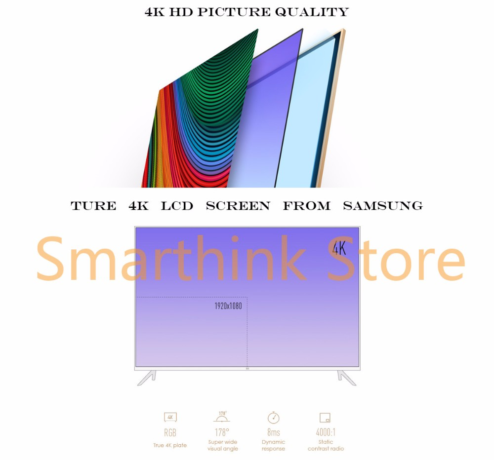 New Original Xiaomi TV 3 60 Inches RGB 4K 3840*2160 Ultra Thin HD Quad Core 2GB Ram 8GB Rom Bluetooth 4.1 Household Smart  TV