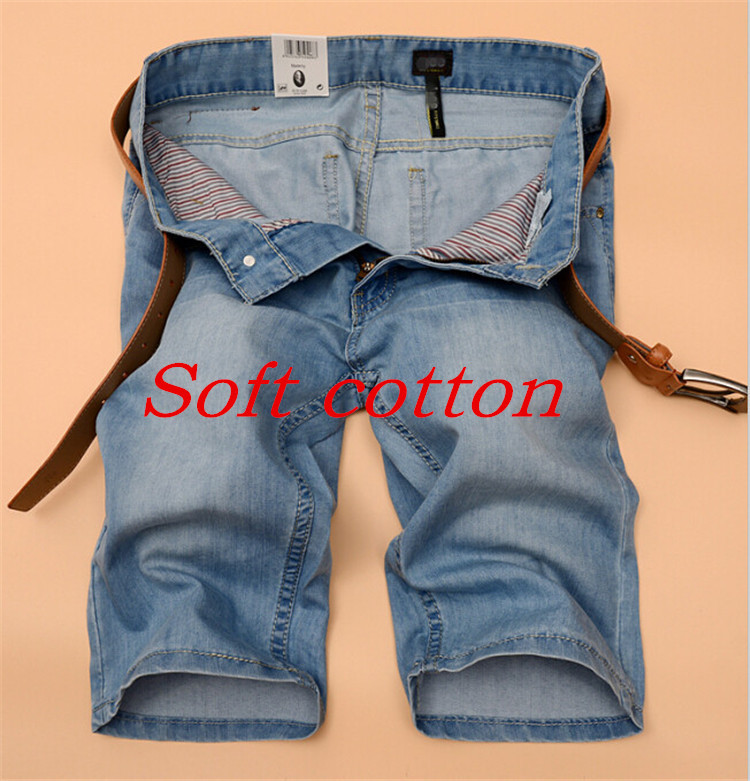 2015 New Brand Summer Mens Fashion Jeans Casual Blue Denim Pants Men Straight Slim Short Pants Large Size 40 Free Shipping(China (Mainland))
