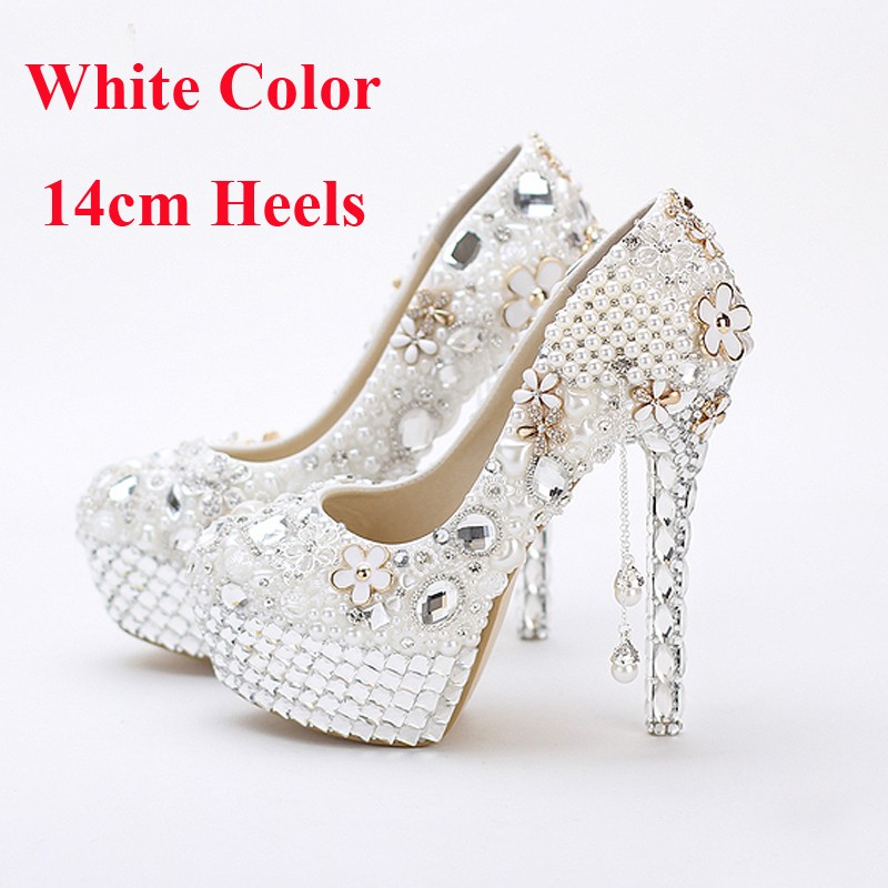 Luxury Vogue White Pearls Women Wedding Shoes 5Inches Princess Crystal Wedding Shoes Tassel Prom High Heesl Wedding Party Shoes
