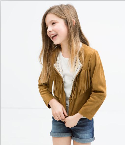 Baby Girls Cotton Tassels Jackets Kids Girl Fall Winter Zipper Cardigan 2015 Girl Fashion Top Babies children clothes<br><br>Aliexpress