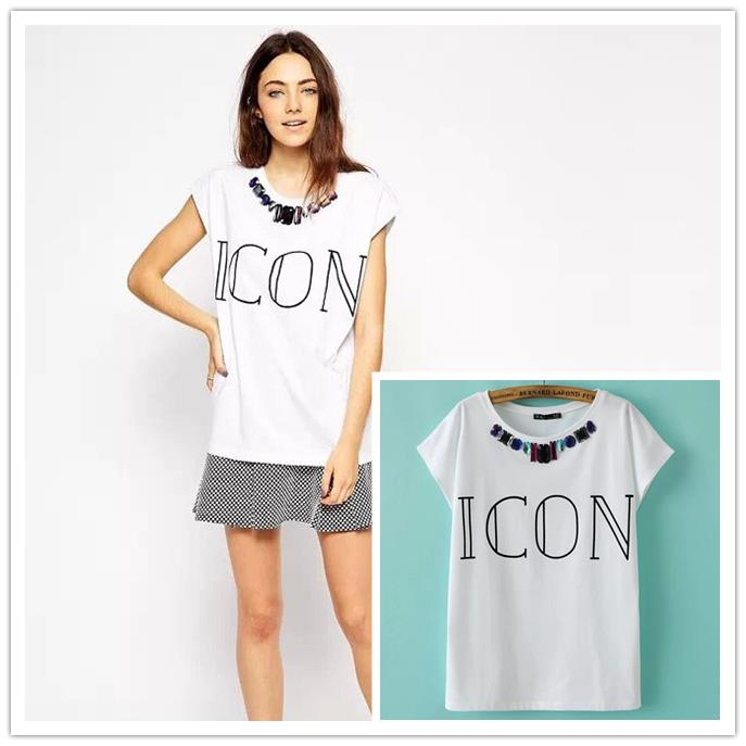 2015 summer new women's streetwear tops short sleeves beaded necklaces letter ICON print loose t shirt - Chic Classic Store store