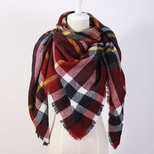 EOL Brand Exclusive Sales Cashmere Desigual Triangle Scarf  Pashmina Shawl Tassels Plaid Fashion Warm Winter For Women OL088(China (Mainland))
