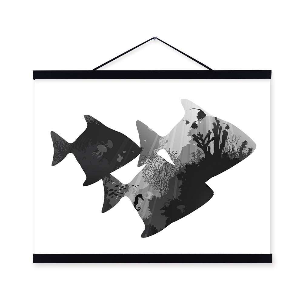 Sea Fish Black White Nordic Minimalist Animal Hipster A4 Framed Canvas Painting Wall Art Prints Picture Poster Hanger Home Decor