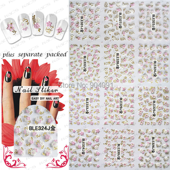 New Arrival 20Sheet/lot 3D Gold flower series Nail Sticker Nail Accessories FOR NAIL ART ,48 design+own individually packaging