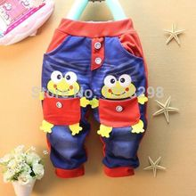 New Hot Fashion Kids Baby Toddler Demin Jeans Blue Frogs Boys Pocket Pants Trousers 1 5Y
