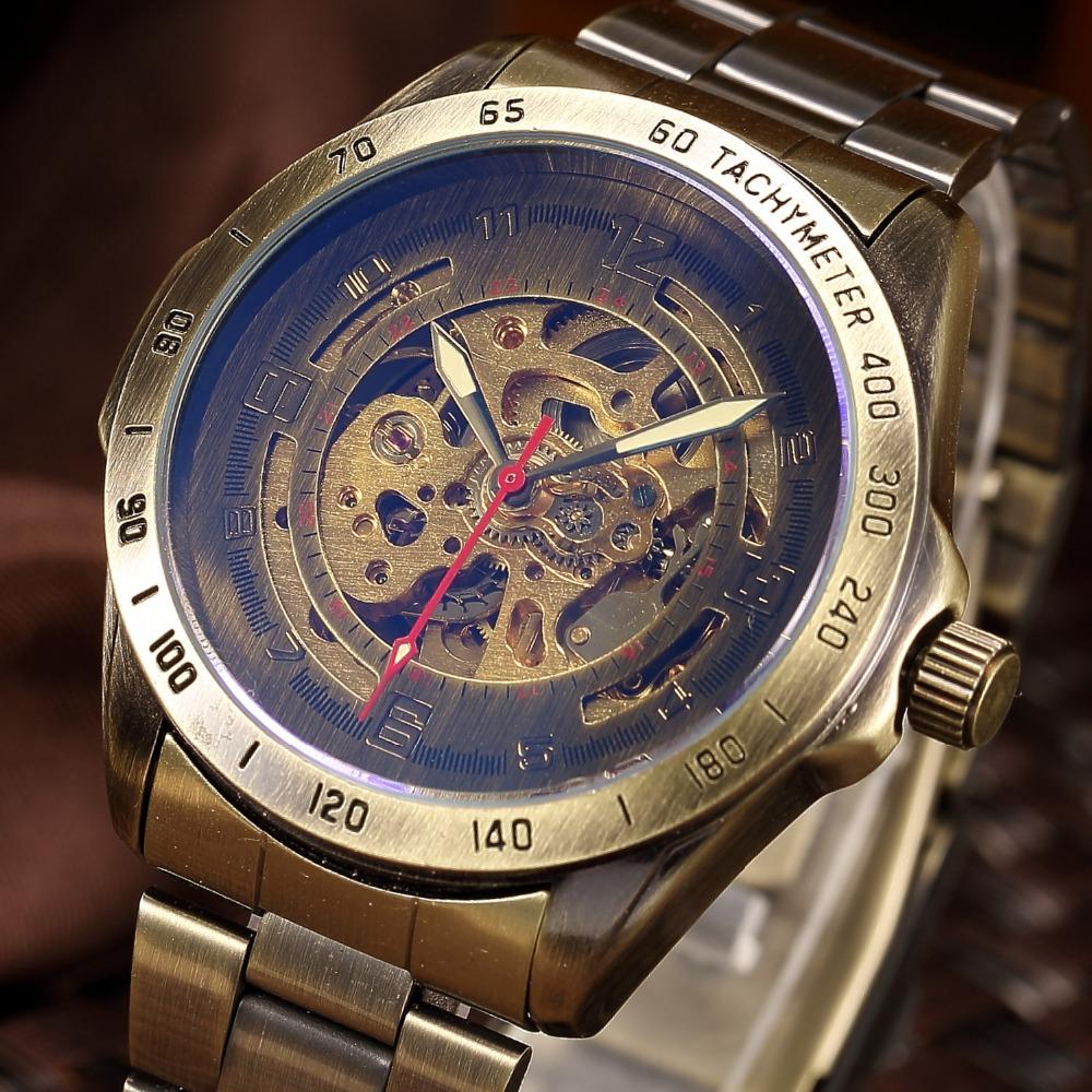 Retro Men Clock 2016 New Relojes Hombre Vintage Automatic Mechanical Skeleton Brown Horloges Mannen Mens Sport Watch Gift Box(China (Mainland))