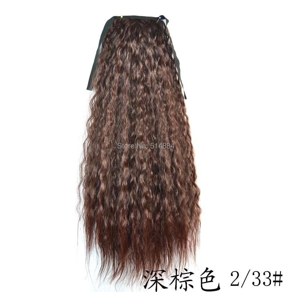 1pc pop 2015 curl pony tail hairpiece synthetic ponytail hair extension,small wave long ponytails hair extension(China (Mainland))