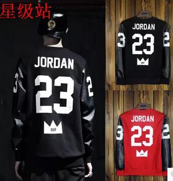 Fashionable man PU sleeves 23 letters printing fleece coat jacket men sporting t-shirts - jason liang's store