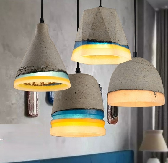 Фотография Industrial Loft Style Vintage Resin Cement Droplight LED Pendant Light Fixtures For Dining Room Hanging Lamp Indoor Lighting