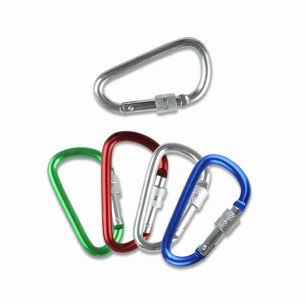 1 PCs Portable Screw Gate Lock Carabiner Snap Hook Lock Clip Camping Buckle Keychain EN1599(China (Mainland))