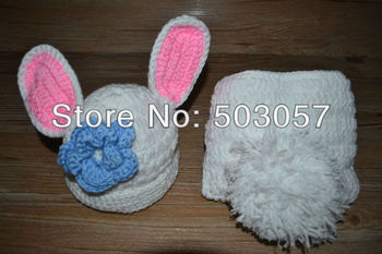 Free Shipping Crochet Photography Prop Newborn Baby Diaper Cover and Rabbit Hat Set