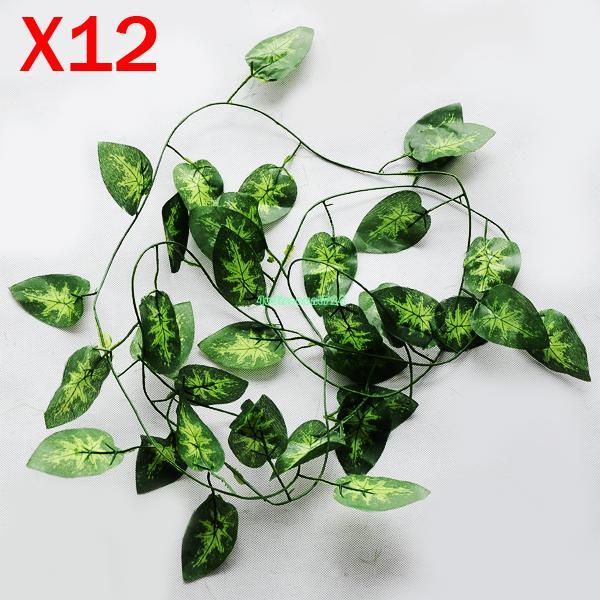 12pcs/lot Artificial Ivy Vine Green Leaf Leaves Home Garden Decor ES5363 wedding decoration artificial flowers decoracao flores(China (Mainland))