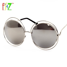 F.J4U 2017 Fashion Women Hollow Frame Big Round Circle Mirror Goggle Shades Trendy Eye Protection Sunglasses for woman UV400(China (Mainland))