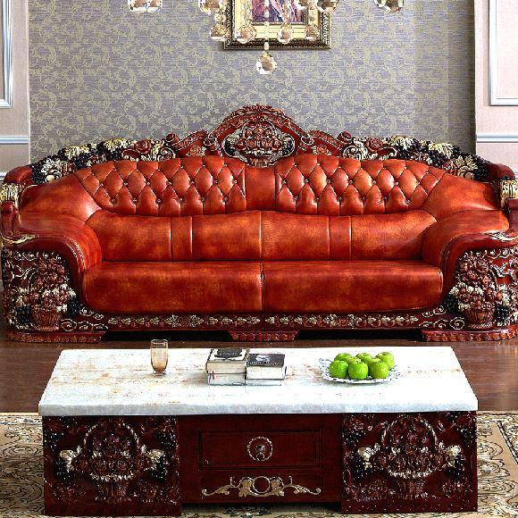 Buy European Royal Living Room Sofa Antique Genuine Leather