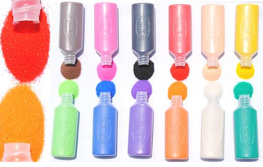 12 bottles/lot 40g/bottle color Sand painting sand drawing art different colors sand mixed for educational toys material(China (Mainland))