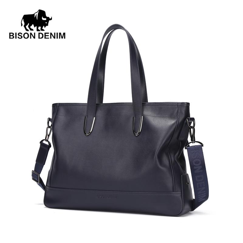 BISON DENIM blue business mens genuine leather messenger bag  stylish waterproof portfolio <br><br>Aliexpress