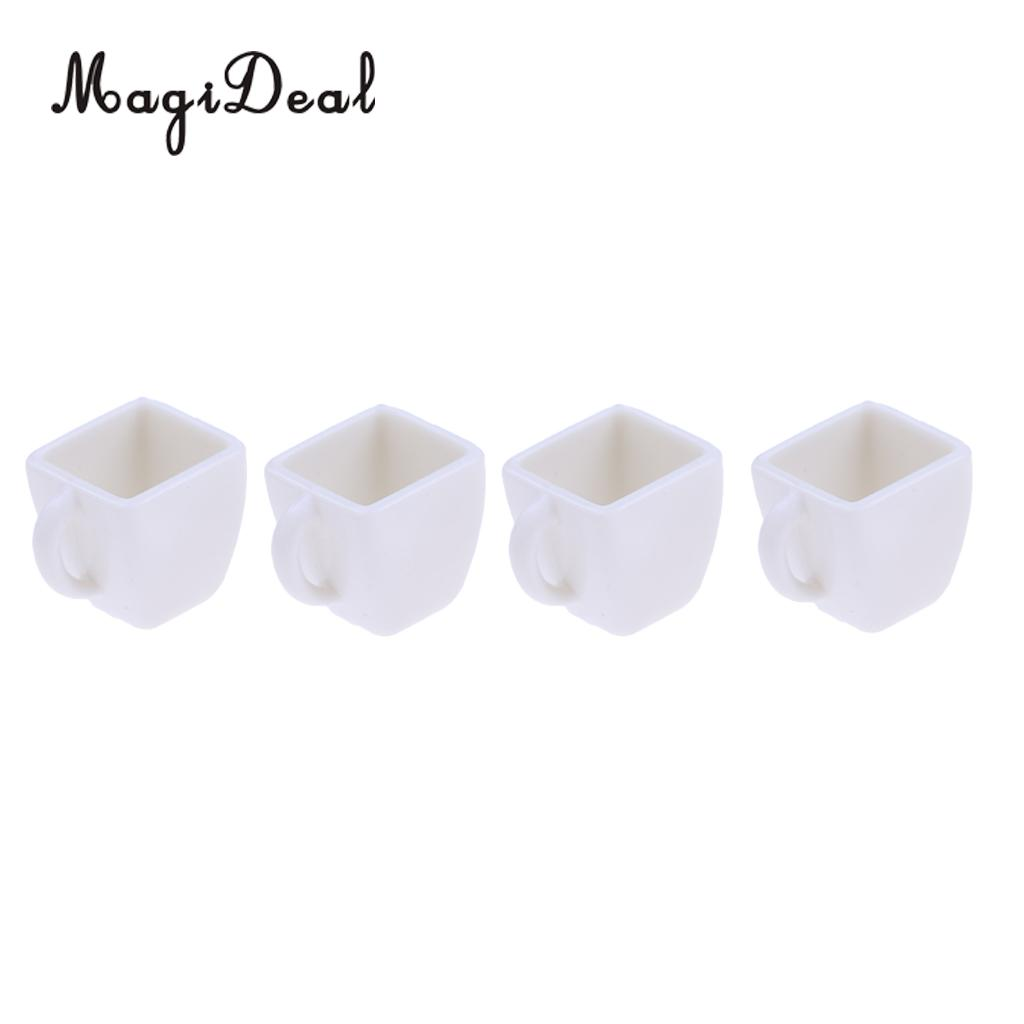 4Pcs 1/12 Miniature Milk Tea Coffee Wine Cups Mugs Dollhouse Tableware for Dollhouse Restaureant Living Room Furniture Decor