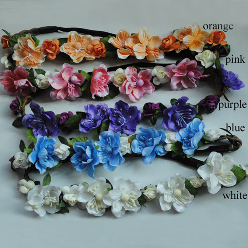 1 Fashion Women Hair Accessories Boho Flowers Headband Hollow Elastic Band Braided Leather Headwrap - SUSAN BEAUTY store
