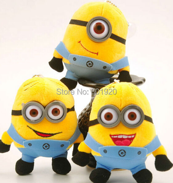 Minions toys despicable me Creative Minions 3D eyes yellow doll soybeans plush toys free shipping,12cm,1pc(China (Mainland))
