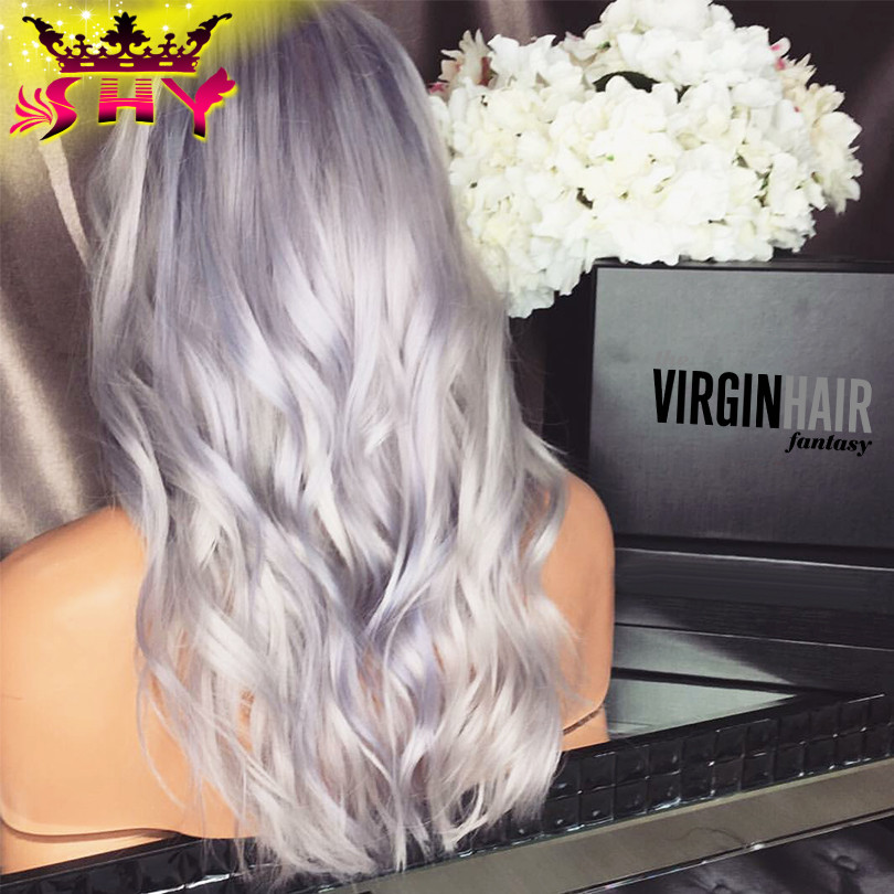 The Virgin Hair Fantasy platinum blonde human hair wigs brazilian virgin full lace human hair wig grey blonde lace front wigs
