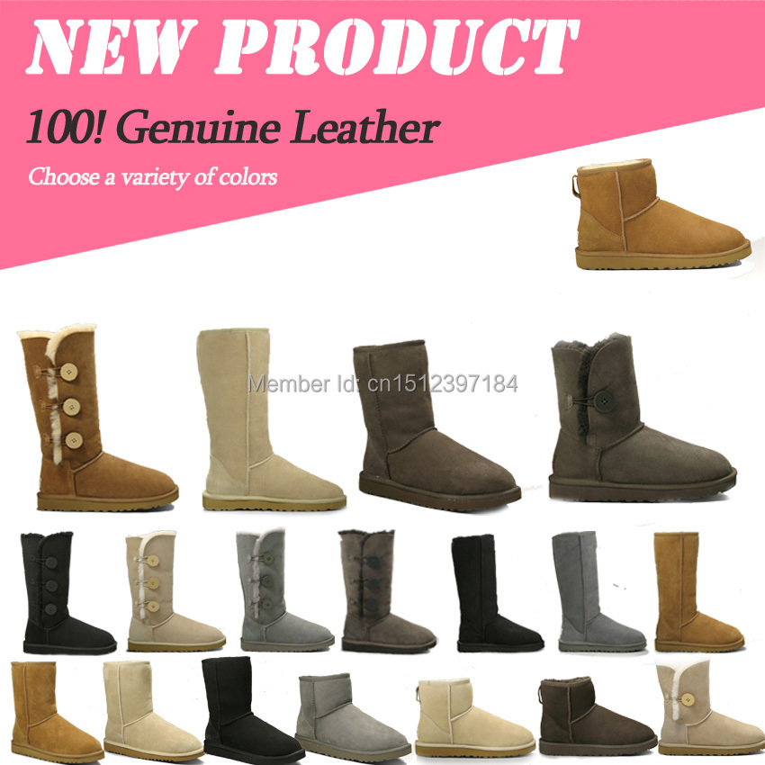 cheap australia snow boots real sheepskin for women winter leather botas outlet lady ankle botte free with original boxes(China (Mainland))
