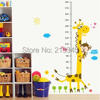 product Saturday Monopoly diy giraffe height stickers cartoon kids room baby boy wall stickers murals removbale pvc decoracion casa