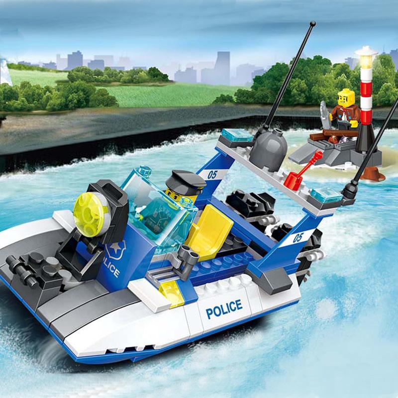 Model Buildling Kits DIY Building Blocks Toys Motor Boat Vehicle Lighthouse Model Police Series Cops Enlighten Gift(China (Mainland))