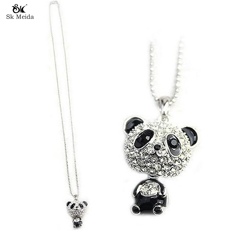 Pretty Enamel Panda Pendant Necklace Women Crystal Accessories Sweater Chain Jewelry Manufacturing Clothing Accessories HL-28(China (Mainland))