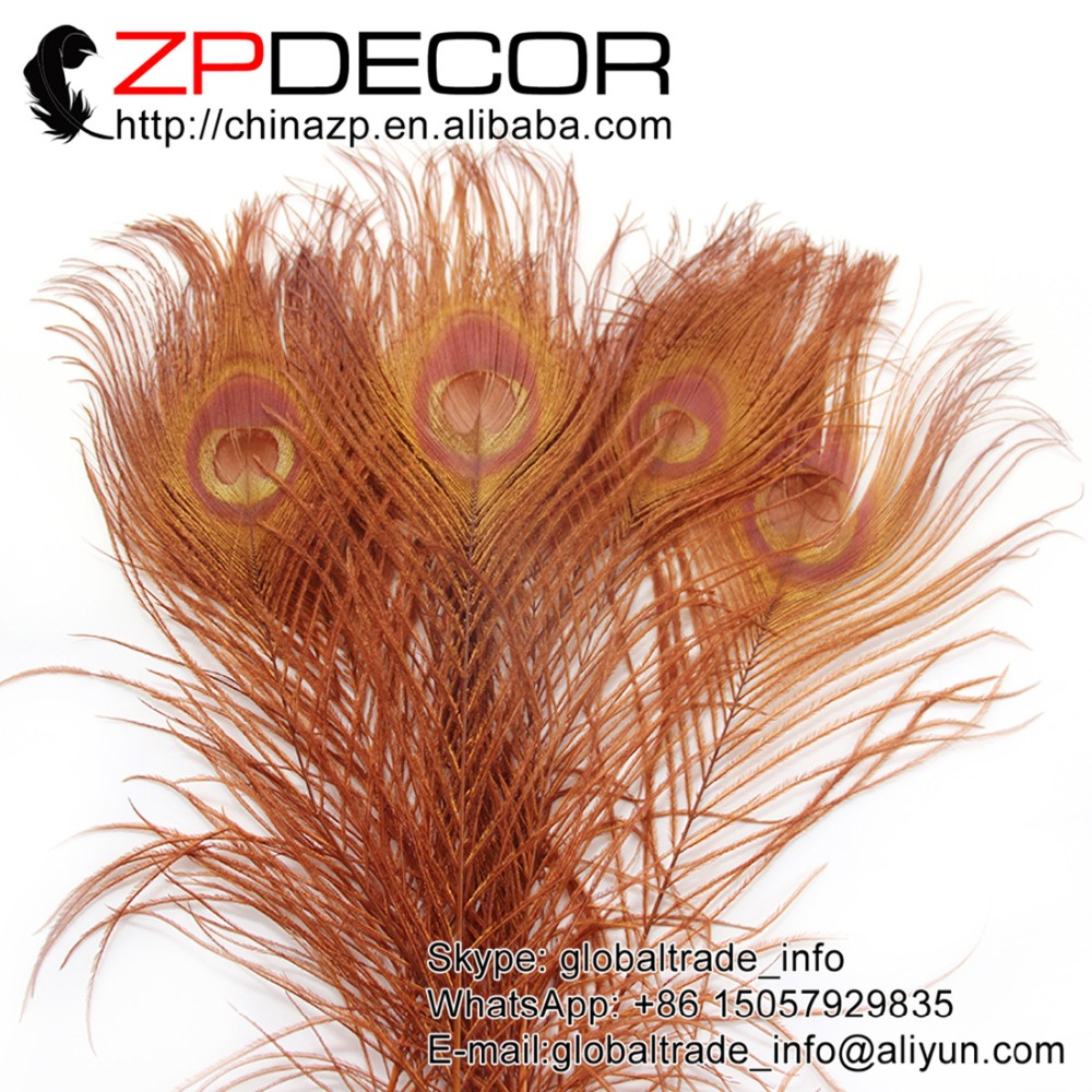 ZPDECOR 50pcs/lot 25-30cm(12-14inch) Premium Quality Hand Select Brown Peacock Feather Hair Accessories(China (Mainland))