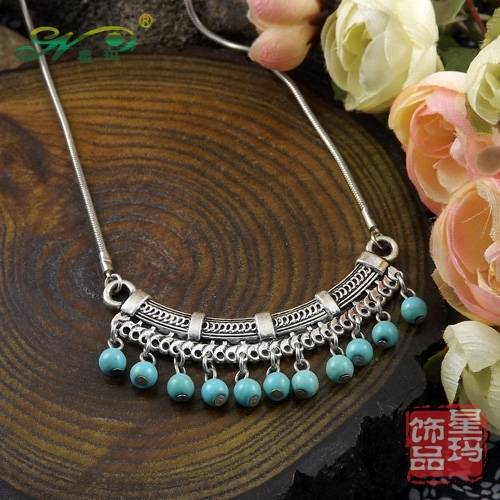 2013 New Arrival Free Shipping Bohemia Tibet Jewelry Vintage Turquoise Pendant Retro Drop Necklace for Women