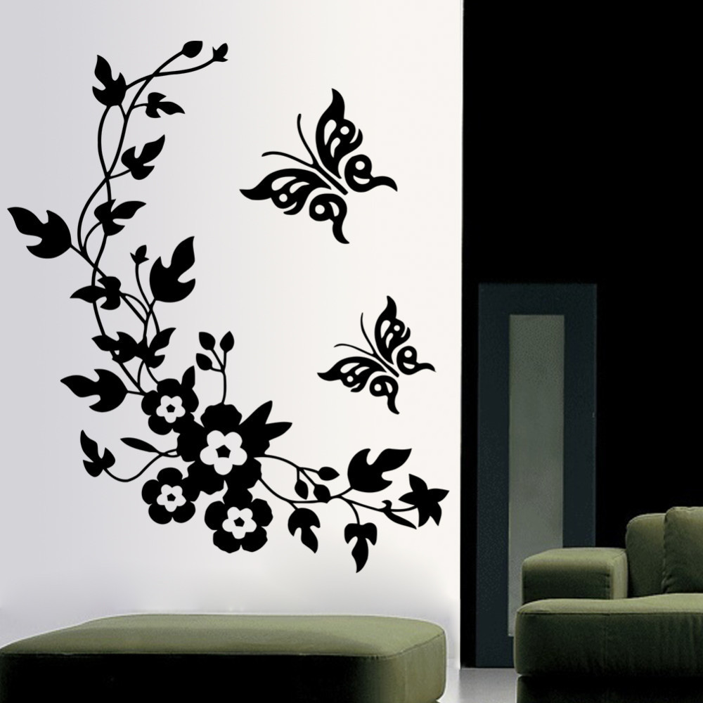 Free shipping removable vinyl 3d wall sticker mural decal for Butterfly wall mural stickers