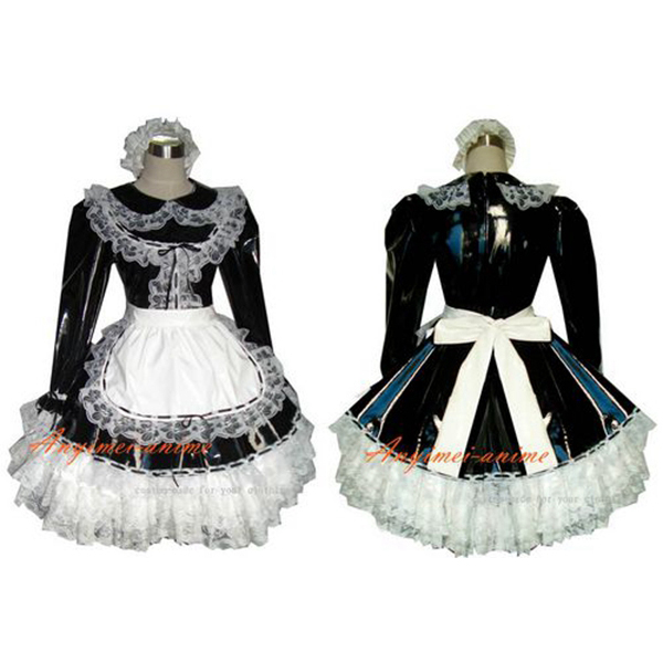 Sexy maid PVC dress lockable Uniform cosplay costume Tailor-made  [G349]Одежда и ак�е��уары<br><br><br>Aliexpress
