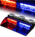 16W 16 LEDs Car Strobe Vehicle Dash Flashing Light Emergency Warning Red Blue