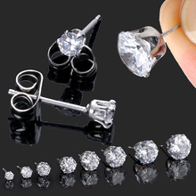 2pcs Mens Womens Stainless Steel Round 3-10mm Cubic Zirconia Stud Earrings  D01081(China (Mainland))