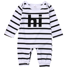 Buy Autumn Warm Newborn Baby Girl Boy Kids Clothes Romper Long Sleeve Striped Hi Letter Jumpsuit Playsuit Infant Boys Girls Outfit for $4.79 in AliExpress store