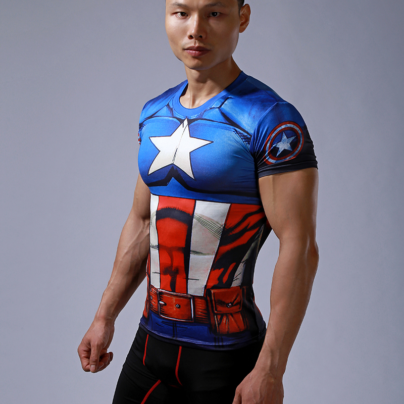 Compression t shirt captain america superman spider man 3d for Gym printed t shirts