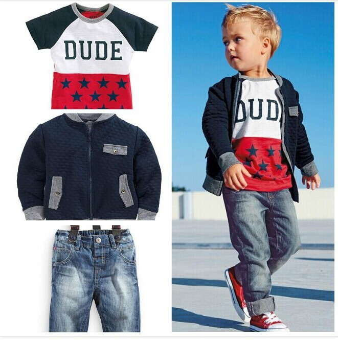 New!Retail free Shipping kids clothes Boys Set 3-pcs t shirt + checked shirt + jeans boy's Autumn suit(China (Mainland))