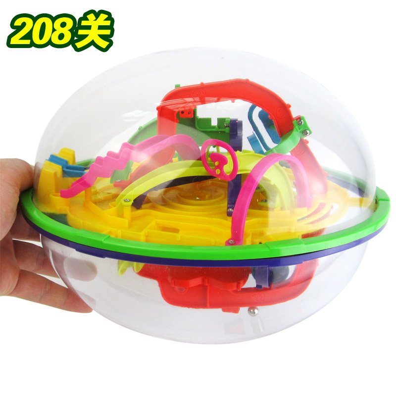 Maze ball 3D Space Puzzle Magnetic Ball Educational Maze Cube Intellect IQ Trainer Game Amazing Balance Toy for Kids 208 Steps(China (Mainland))