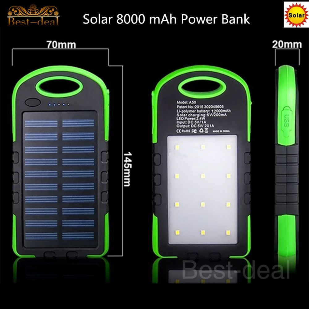 8000mAh Dual USB External Solar Battery Batteries Charger Solar Power Bank wtih 6 LED Light for iPhone Smartphone Mobile Phone(China (Mainland))