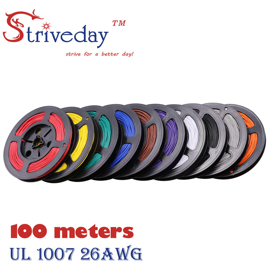 Striveday 1007 26 AWG Cable Copper Wire 100 Meters Red Blue Green Black Yellow 10 colors Electrical Wires Cables For DIY(China (Mainland))