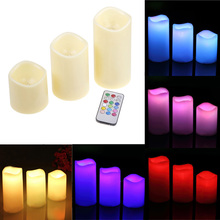 Hot Sale Decorative 3Pcs/set Cylindrical Colorful Remote Control Timed Flameless LED Candle Light Unique #81304(China (Mainland))