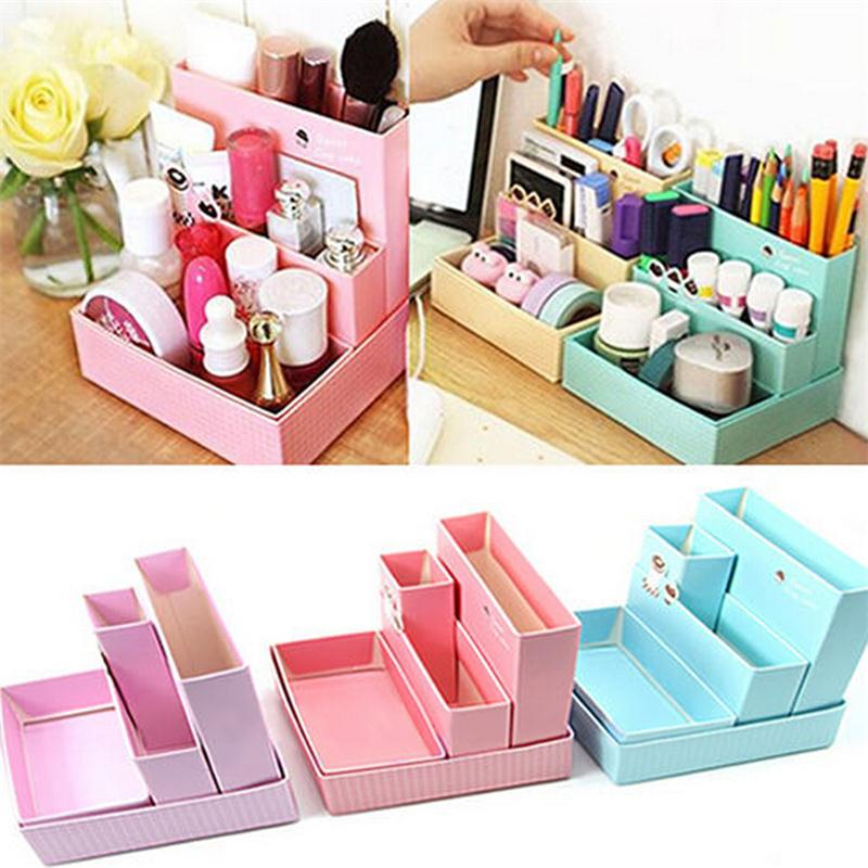 Paper Board Storage Box Cases Desk Decor Stationery Makeup Cosmetic Organizer Case Storages Boxes(China (Mainland))