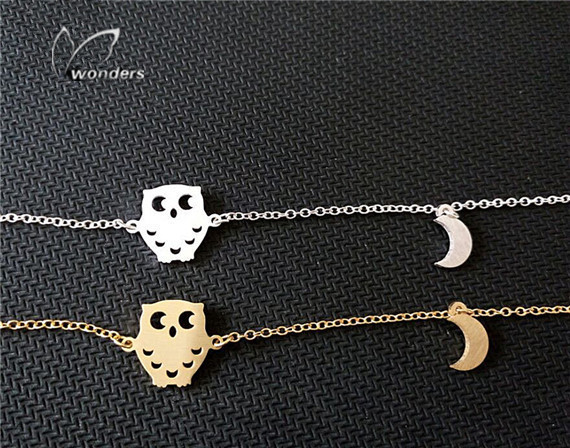 1 B011 Stainless Steel Pulseras Mujer Fine Jewelry Gold Silver Cute Tiny Night Owl Moon Charm Bracelets Women 2016 - Show store